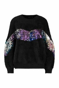 Womens Premium Sequin Embellished Fluffy Christmas Jumper - black - S, Black