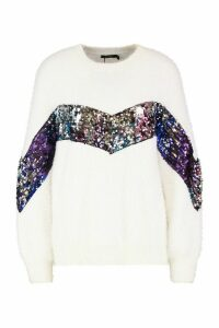 Womens Premium Sequin Embellished Fluffy Christmas Jumper - white - S, White