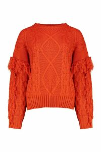 Womens Cable Fringe Knit Jumper - cumin - S, Cumin