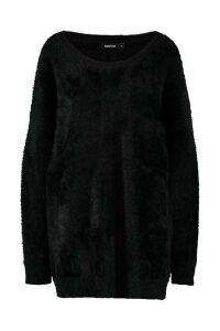 Womens Premium Oversized Feather Knit - black - M/L, Black
