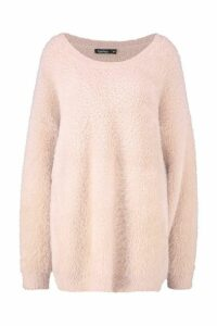 Womens Premium Oversized Feather Knit - pink - M/L, Pink