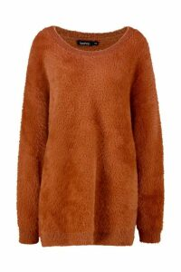 Womens Premium Oversized Feather Knit - brown - M/L, Brown