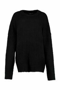 Womens Oversized Rib Knit Boyfriend Jumper - black - M/L, Black