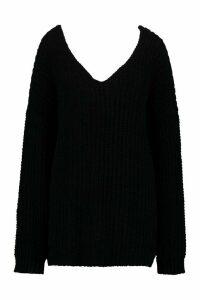 Womens Oversized Chenille Boyfriend Jumper - black - S/M, Black