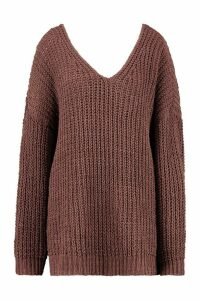 Womens Oversized Chenille Boyfriend Jumper - brown - M/L, Brown