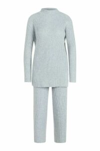 Womens Premium Knitted Rib roll/polo neck Set - grey - M, Grey