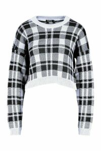 Womens Check Crop Jumper - black - L, Black