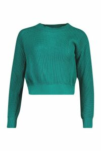 Womens Crop Fisherman Jumper - green - XL, Green