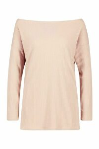 Womens Off The Shoulder Oversized Rib Knit Jumper - beige - 8, Beige