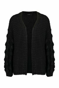Womens Premium Hand Knitted Chunky Cable Cardigan - black - M/L, Black