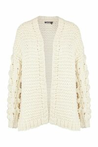 Womens Premium Hand Knitted Chunky Cable Cardigan - white - M/L, White