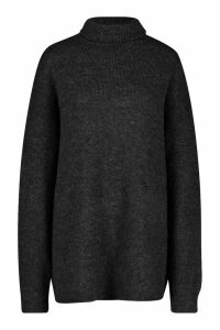 Womens Oversized Roll Neck Jumper - black - M/L, Black