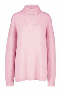 Womens Oversized Roll Neck Jumper - Pink - M/L, Pink