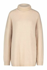 Womens Oversized Roll Neck Jumper - beige - M/L, Beige