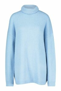 Womens Oversized Roll Neck Jumper - dusty blue - M/L, Dusty Blue
