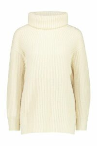 Womens Oversized Roll Neck Rib Knit Jumper - white - L, White