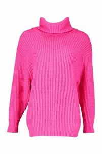 Womens Oversized Roll Neck Rib Knit Jumper - Pink - M, Pink