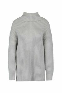 Womens Oversized Roll Neck Rib Knit Jumper - grey - L, Grey