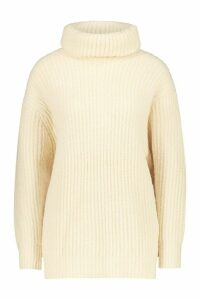 Womens Oversized Roll Neck Rib Knit Jumper - beige - M, Beige