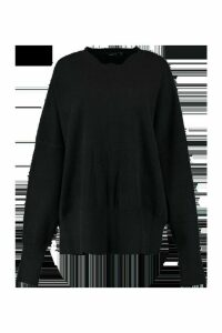 Womens Oversized Balloon Sleeve Knitted Jumper - Black - M/L, Black