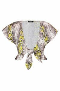 Womens Snaked Print Satin Tie Front Top - beige - 10, Beige