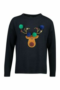 Womens Reindeer Applique Jumper With Pom Pom - navy - XS, Navy