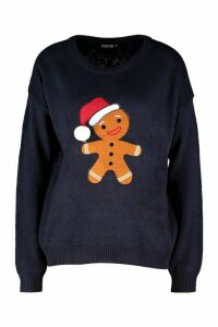 Womens Gingerbread Man Pom Pom Christmas Jumper - navy - S, Navy