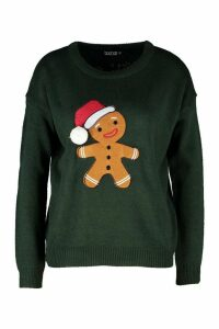 Womens Gingerbread Man Pom Pom Christmas Jumper - Green - M, Green