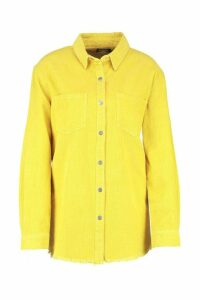 Womens Norah Yellow Cord Raw Hem Shirt - 12, Yellow