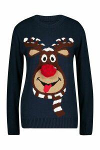 Womens Petite Reindeer Pom Pom Christmas Jumper - navy - M/L, Navy