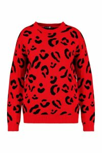 Womens Plus Leopard Knitted Jumper - red - 20, Red
