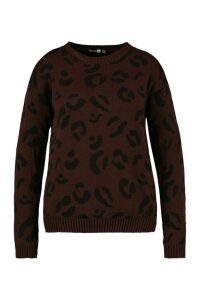 Womens Plus Leopard Knitted Jumper - brown - 18, Brown