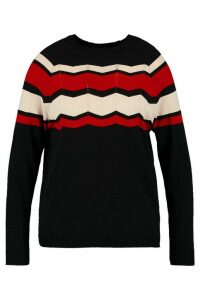 Womens Plus Stripe Detail Jumper - black - 18, Black