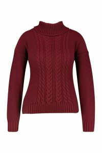Womens Plus Cable Knitted Roll Neck Jumper - red - 28, Red