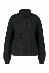 Womens Plus Cable Knitted Roll Neck Jumper - black - 26, Black