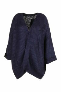 Womens Plus Oversized Front Pocket Detail Cardigan - Navy - Xxl, Navy