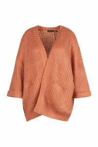 Womens Plus Oversized Front Pocket Detail Cardigan - Orange - Xxl, Orange