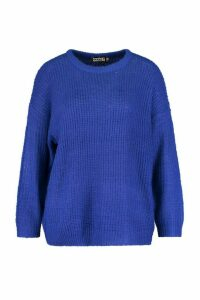 Womens Plus Crew Neck Fisherman Rib Jumper - blue - 24, Blue