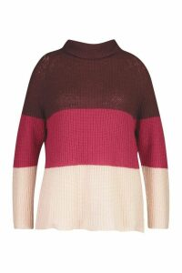 Womens Plus Colour Block Roll Neck Raglan Jumper - Red - 18, Red