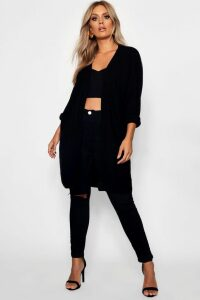 Womens Plus Cocoon Oversized Rib Knit Cardigan - Black - 20, Black