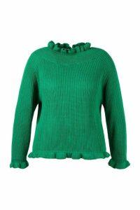 Womens Plus Ruffle Neck Oversized Jumper - green - 24-26, Green