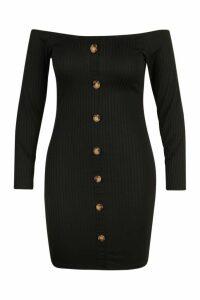 Womens Plus Horn Button Knitted Bardot Dress - black - 20, Black