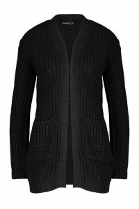 Womens Petite Chunky Knitted Cardigan - Black - M, Black