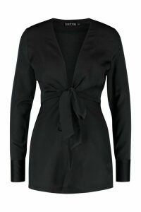 Womens Petite Satin Tie Front Blouse - black - 10, Black