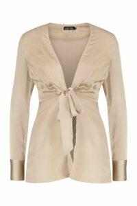 Womens Petite Satin Tie Front Blouse - beige - 12, Beige