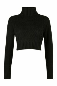 Womens Petite Roll Neck Cable Knit Crop Jumper - black - M, Black