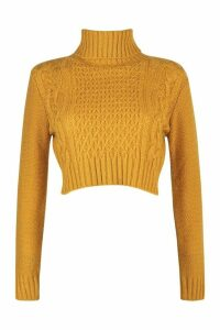 Womens Petite Roll Neck Cable Knit Crop Jumper - yellow - L, Yellow