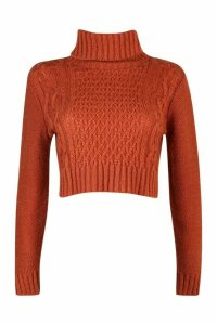 Womens Petite Roll Neck Cable Knit Crop Jumper - Brown - M, Brown