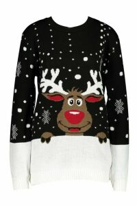 Womens Tall Reindeer Christmas Jumper - black - M/L, Black