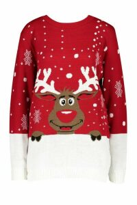 Womens Tall Reindeer Christmas Jumper - red - M/L, Red